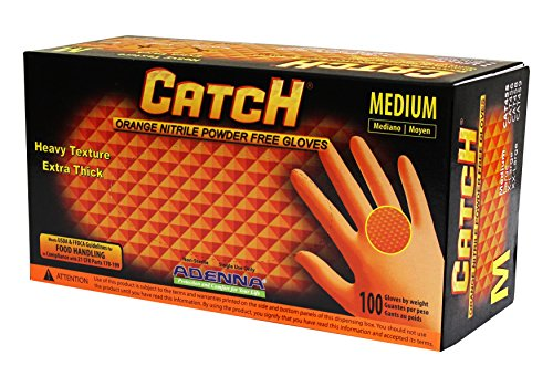 Adenna Catch 8 mil Nitrile Powder Free Gloves (Orange, Medium) Box of 100