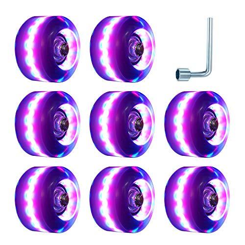 TOBWOLF 8er Pack 82A 58 mm x 32 mm Quad-Rollschuhe, Skateräder für Zweireihige Rollschuhe im Innen- und Außenbereich, Verschleißfeste PU Räder Ersetzen (Neon Lighting (Pink))