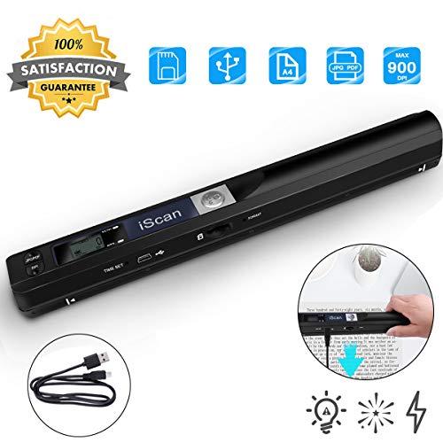 SmartHitech Scanner sans Fil Portable USB, 900DPI Scanneur de Fichiers...