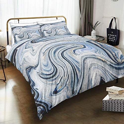 MOUPSDT 3D Printed Duvet Cover Blue marble King size Bedding Set Super Soft Microfiber 3 pcs 1 Duvet Cover 86.7 inch x 95 inch with 2 Pillow covers 50x75cm