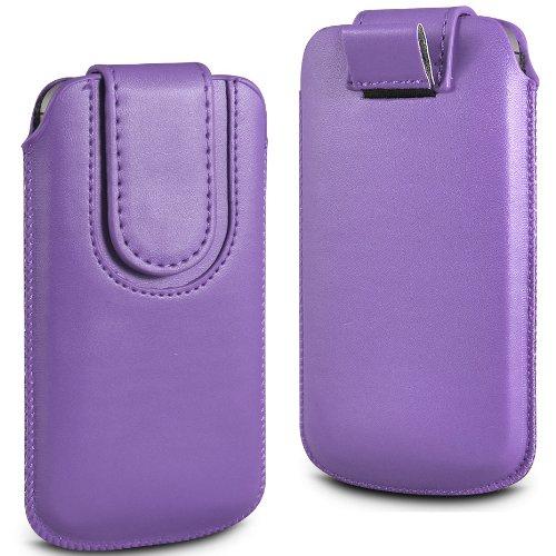 N4U Online Lila Premium-PU-Leder Pull Tab Flip Tasche für Huawei Ascend P1 mit magnetischem Verschluss Strap