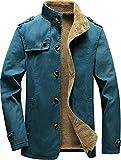 Vcansion Men's Winter Cotton Fleece Lined Jacket Single Breasted Outerwear Windbreakers Coats Black L