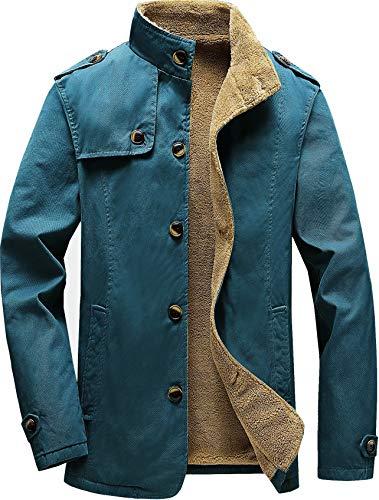 Vcansion Men's Winter Fleece Windproof Jacket Wool Outerwear Single Breasted Classic Cotton Jacket Coats BlueGrey M
