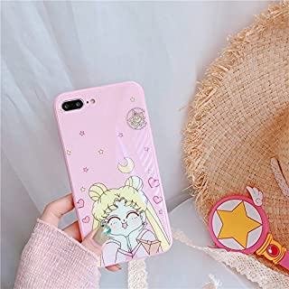 Hard Tempered Glass Pink Sailor Moon Case for iPhone 7Plus 7+ 8Plus 8+ Large Size Jpanese Cartoon Bump Resistant Shockproof Protective Lovely Kids Girls Teens Women