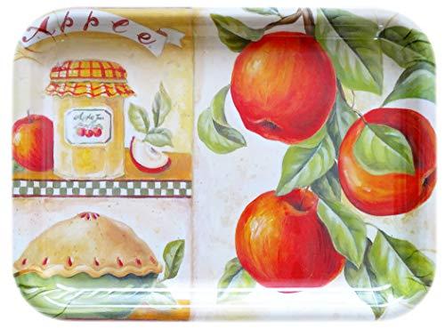 Lashuma, piccolo vassoio da tè, dimensioni: 31 x 23 cm, in plastica, vassoio decorativo in plastica, motivo: torta di mele, vassoio rettangolare