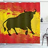 ABAKUHAUS Spanisch Duschvorhang, Bull Silhouette auf Flagge, mit 12 Ringe Set Wasserdicht Stielvoll Modern Farbfest & Schimmel Resistent, 175x200 cm, Vermilion Gelbe Umber