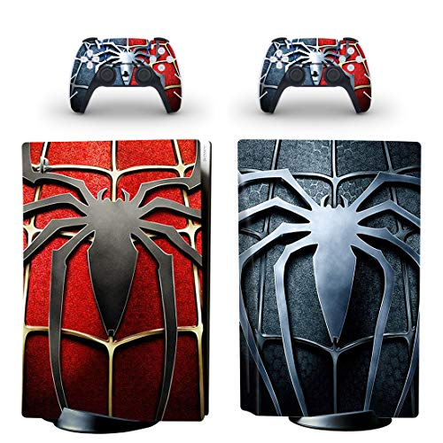 PlayStation 5 Disc Edition Spiderman Consola Skin, Decal, vinilo, Sticker, Faceplate – Consola y 2 mandos – Protective Cover New PS5 DISC Marvel – Miles Morales