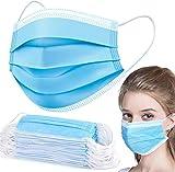 50 Pezzi Mascherine Monousoa Mаsks Maschera Protettiva Monouso Non Tessuto Antipolvere (Blu)