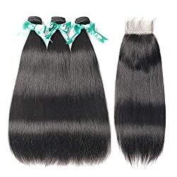 top rated Bow Hair Brazilian Straight Hair, 3 bundles with clasp.  100% untreated 8A virgin human hair … 2021