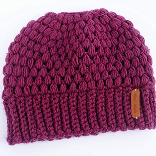 SHYPT Winter Strickmützen Winter Damen Hüte Damen Mädchen Stretch Strick Hüte Pferdeschwanzkappen Perforierte Warme Hut Hüte (Color : A)