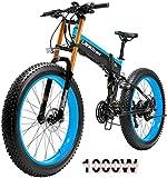 Bicicletas Eléctricas, 1000W 26 pulgadas Fat Tire Montaña bicicleta eléctrica Beach moto de nieve for adultos con EBike extraíble 48V14.5A batería de litio ,Bicicleta ( Color : Blue , Size : 1000W )