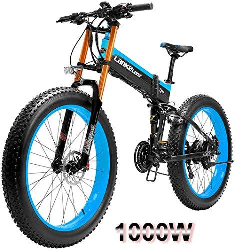 RDJM Bciclette Elettriche, 1000W 26 Pollici Fat Tire Mountain Bicicletta elettrica Spiaggia Neve Bici for Adulti con EBike Rimovibile 48V14.5A Batteria al Litio (Color : Blue, Size : 1000W)