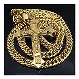YUANYUAN520 Tono de Oro Cruz Colgante Collar de Jesucristo de Acero Inoxidable Enlace Cadena Pesada de los Hombres joyería Regalo Joyería (Color : 60cm, Size : Gold Color)