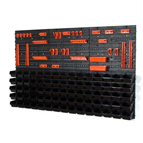 Lot de 46 Ensemble Casiers de Rangement et Crochets avec Panneaux Muraux porte-outils Sotech