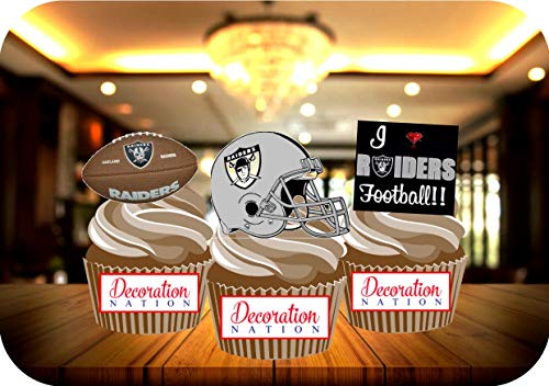 12 x Oakland Raiders Birthday Edible Cake Toppers Decorations Cupcakes