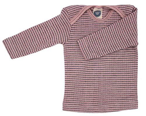 Cosilana Baby Schlupfhemd, Größe 98/104, Farbe Rosa-Pflaume-Natur - Exclusiv Wollbody®GmbH - Qualität 91 45% Baumwolle KBA, 35% Schurwolle kbT, 20% Seide