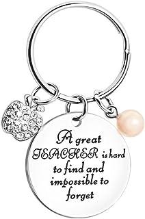 Jewelry meiqi - Portachiavi personalizzato per insegnanti apprezzamento, in acciaio inox, con scritta personalizzata