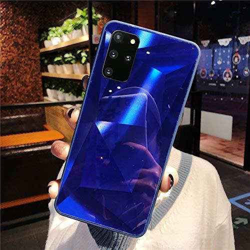 Herbests Kompatibel mit Samsung Galaxy S20 Plus Hülle Spiegel Schutzhülle Mädchen Frauen Glänzend Bling Glitzer Silikon Handyhülle Ultra Dünn Silikon Rückseite Glitzer Hülle Tasche,Blau