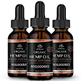 (3 Pack) Organic Hemp Oil for Pain Relief and Inflammation - 800,000 mg Extra Strength Hemp - for Anxiety & Stress Relief - Supports Sleep, Calm,Focus, Relaxation - Organically USA
