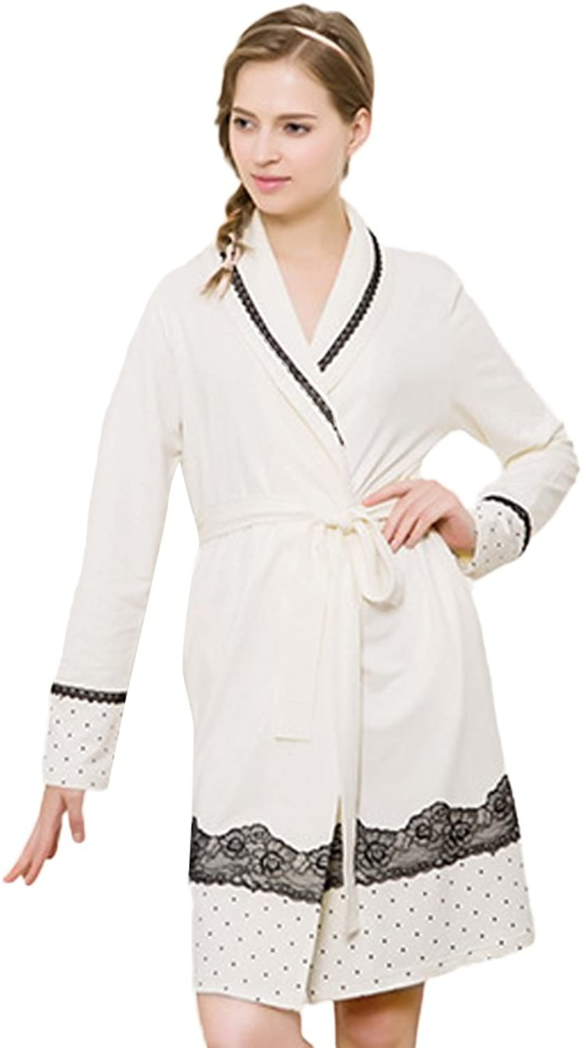 Insun Women's Long Sleeve Lace Detail Robe Bathrobe Nightgown