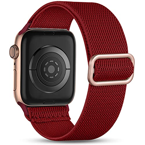 Witzon Compatible with Apple Watch Band 44mm 42mm for Women Men, Elastic Solo Loop Soft Breathable Braided Nylon Stretchy Bands for iWatch / Apple Watch SE Series 6 5 4 3 2 1, Rose Gold Burgundy