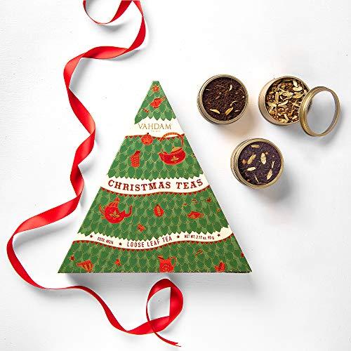 VAHDAM, Te de Navidad - Set de 3 Latas de Tés Premiados en una Lujosa Caja de Regalo | Ingredientes 100% Naturales, Auténticos y Ricos en Especias – Set Navideño perfecto