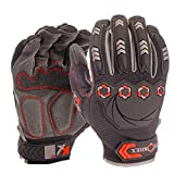Karbonhex Karbon - Work and Bike Riding Anti-Impact/Impact Resistant Dorsal TPR & KXP™ Palm Padded Hand Gloves to reduce impacts, shocks and vibrations