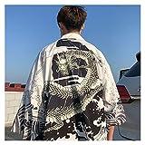 Camisa Hawaiana Hombres Ropa Streetwear japonés Extra Largo Chino Camisa Masculina Fresca Blusa Masculina Kimono cárdigan Ropa Tradicional (Color : 5, Tamaño : L)