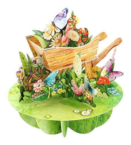 Wheelbarrow of Flowers Pirouette - Santoro 3D Pop-Up Greeting & Birthday Card for Her