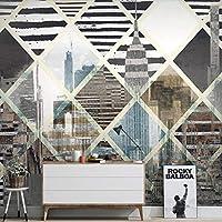 mzznz カスタム手描きの都市建築の背景壁紙壁画-280X200Cm