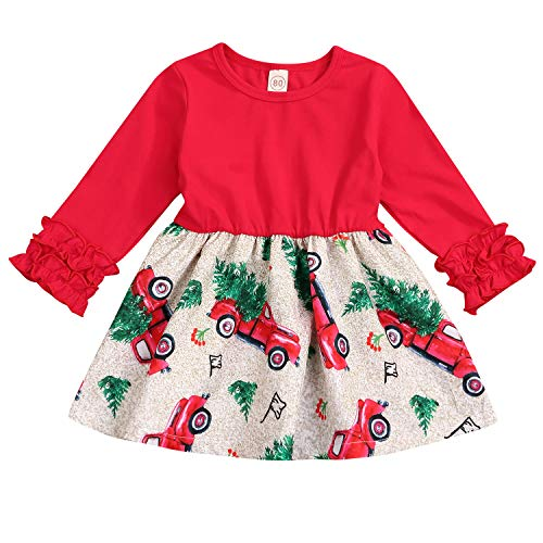 Toddler Baby Little Girls Christmas Dress Ruffle Long Sleeve Tree Truck Xmas Dresses Outfit (3-4 Years, Red)