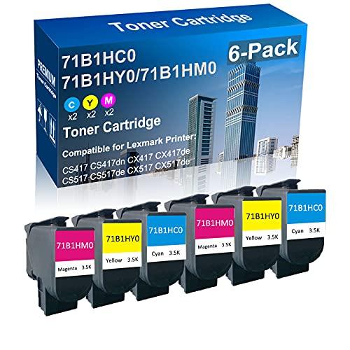 6-Pack (2C+2Y+2M) Compatible Printer Toner High Yield Replacement for Lexmark (71B1HC0 71B1HY0 71B1HM0) Laser Toner Cartridge Fit for Lexmark CS417 CS417dn CX417de CS517 CX517de Printer