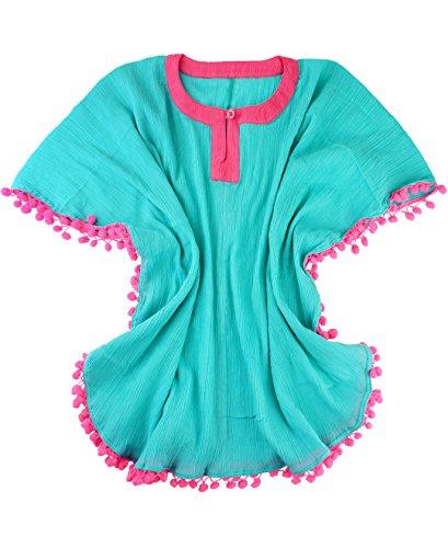 RuffleButts Infant/Toddler Girls Aqua Poncho Swim Cover-Up w/Pom Poms - Blue - 12-24m