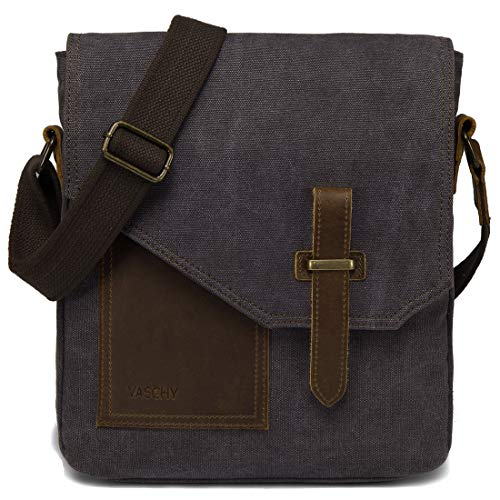Man Bag, VASCHY Water Resistant Small Messenger Bag Shoulder Bag Vintage Canvas Leather Cross Body Bag with Multi-PocketsSGrey