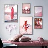 Pink Beach Sea Tabla de surf Barco Árbol Arte de la pared Impresión en lienzo Pintura Carteles nórdicos e impresiones Imágenes de pared para decoración del hogar | 50x70cmx2 30x40cmx3 (Sin marco)