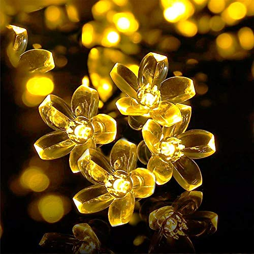 Christmas Solar Fairy Lights Outdoor,aifulo 23ft 8 Modes 50 LED Blossom Solar Powered String Lights Waterproof Outdoor Flower Garden String Lights for Patio,Yard,Tree,Home,Party Decorations-Warm White
