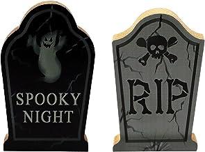 Halloween Wooden Ornaments Ghost Festival Pumpkin Skull Tombstone owl Party Scene Decoration 2pcs (Size : 1)