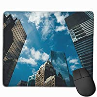 マウスパッド オフィス最適 大都市の高層ビル 青い空 ゲーミング 防水性 耐久性 滑り止め 多機能 標準サイズ25cm×30cm