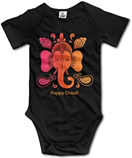 Unisex Baby's Climbing Clothes Set Happy Diwali Bodysuits Romper Short Sleeved Light Onesies for 0-24 Months