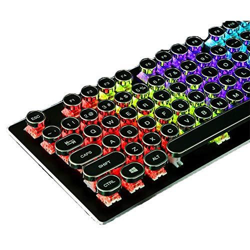 Mechanisch toetsenbord Wired Gaming Keyboard Punk 104 Key Backlight Blauw Schakelaar Groen as Toetsenbord Geschikt voor LOL PUBG Fortnite, Zwart