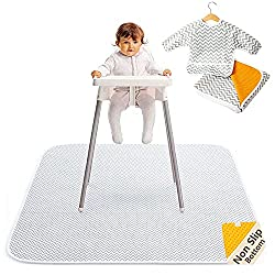 commercial Waterproof 2-in-1 baby food mat under high chair (51 x 51 inches) with infant robe and baby food… high chair mats
