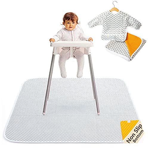"""of baby floor seats dec 2021 theres one clear winner 2-in-1 Waterproof Baby Splat Mat for Under High Chair (51"""" x 51"""") with Toddler Smock and Weaning Ebook - Large Non-Slip Infant High Chair Mat Food Catcher Protects Floor from Mealtime Messes"""