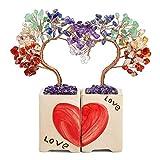 JSDDE 2 Stück Feng Shui Baum Herz Puzzle Form Lebensbaum Geldbaum mit Keramikvase Heilstein Glücksbringer Baum Trommelsteine Glückbaum Hause Wohnung Tisch Büro Deko (7 Chakra)