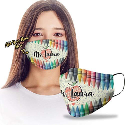 Jennifer Corrigan Personalized Custom Teacher Name Crayons Theme Design Print Cloth Reusable Washable Face Mask Double Layer Masks Dust Protection for Men Women - DSM