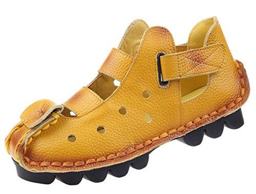 Vogstyle Damen Weinlese Handgemachtes Echtes Leder Ebene Schuhe Art 2 Gelb EU40/CH41