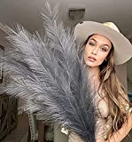 VOULUX Grey Fake Artificial Faux Pampas Grass Large Bundle x3 Tall 115cm 45' Extra Fluffy Stems 18 Decorative Branches for Artificial Floor Plant Vase Fillers for Boho Chic Grey Home Living Room Decor