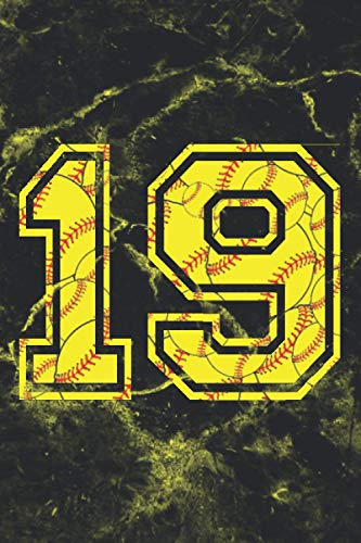 19 Journal: A Softball Jersey Number #19 Nineteen Notebook For Writing And Notes: For All Players, Coaches, Fans: Marble Yellow Red Ball Print