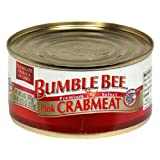 BUMBLE BEE Premium Select Wild Pink Crab Meat, 6 Ounce Can (Case of 12), Canned Crab Meat, High...