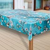 laro Wachstuch-Tischdecke Abwaschbar Garten-Tischdecke Wachstischdecke PVC Plastik-Tischdecken Eckig Meterware Wasserabweisend Abwischbar |64|, Muster:Kirschblüte, Größe:100x130 cm