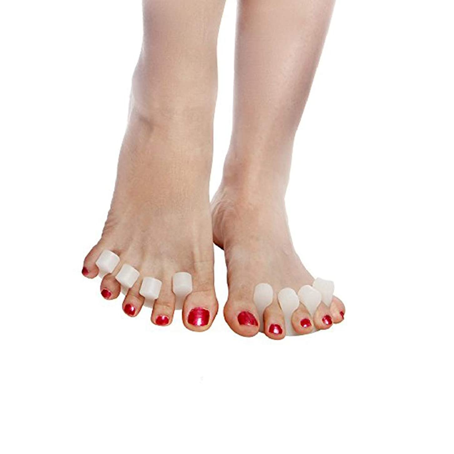 居眠りする敬意を表する意味するBeito 足指セパレーター,足指広げる 指間ジェルサポーター ネイル ペディキュア用 外反母趾パッド 内反小趾 手指足指全開両用 分離シリコンパッド ヨガ マニキュア用 4個セット